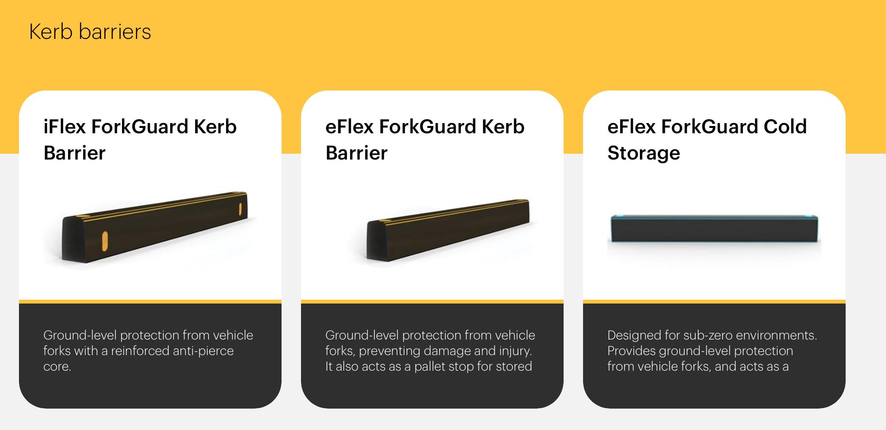 Rào chắn chống đâm xuyên khỏixe forklift iFlex ™ ForkGuard ™ Kerb Barrier